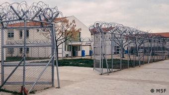 A picture of barbed wire fences and gates in Komotini detention center in northern Greece.