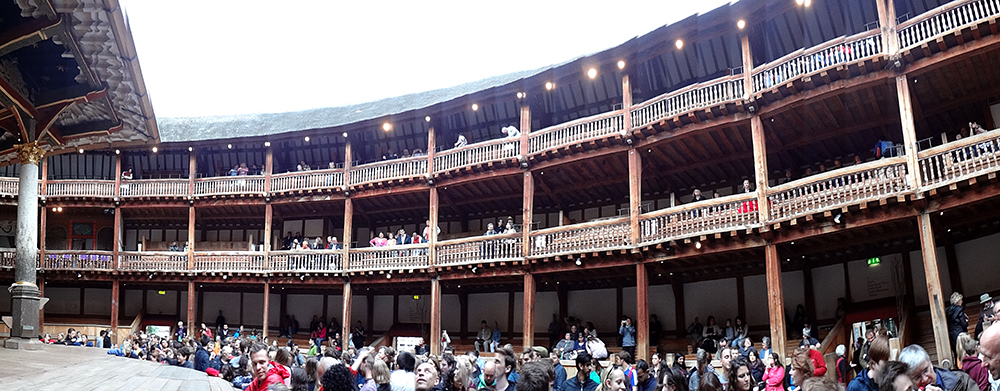 View of the crowd at the Globe Theatre, London, June 2013. Fun fact: Standing by the stage, obscured here by other groundlings, was Sir Richard Branson, founder of Virgin Records/Airlines and numerous other adventures.