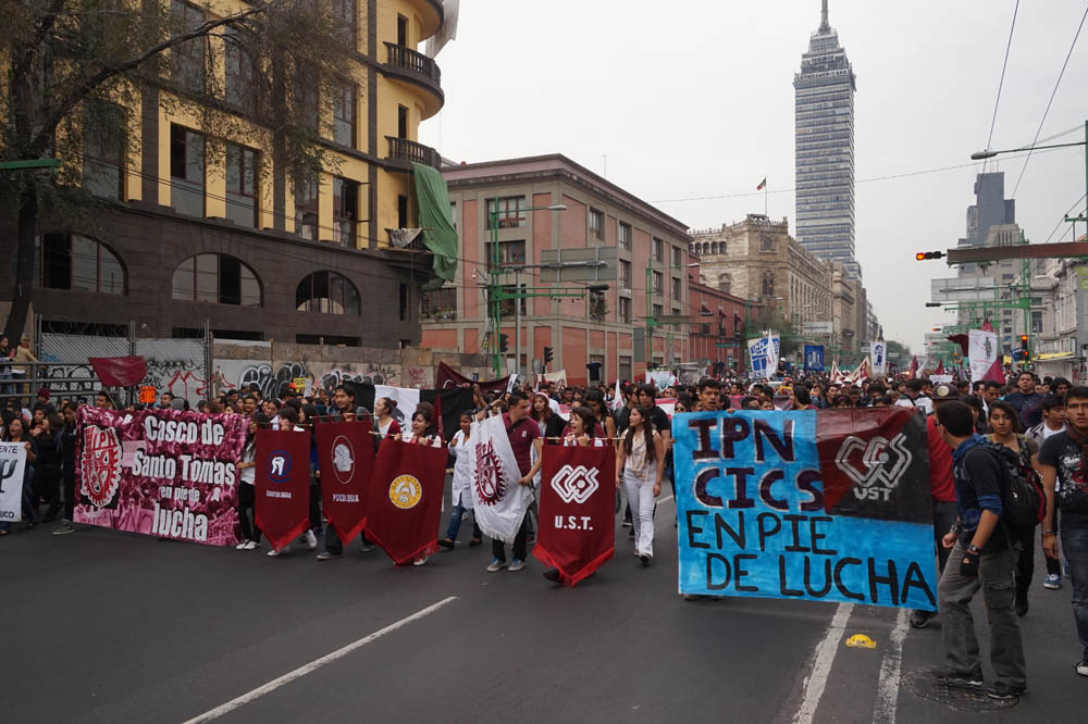 A first wave of protests in the centro historico, heading for the main plaza.