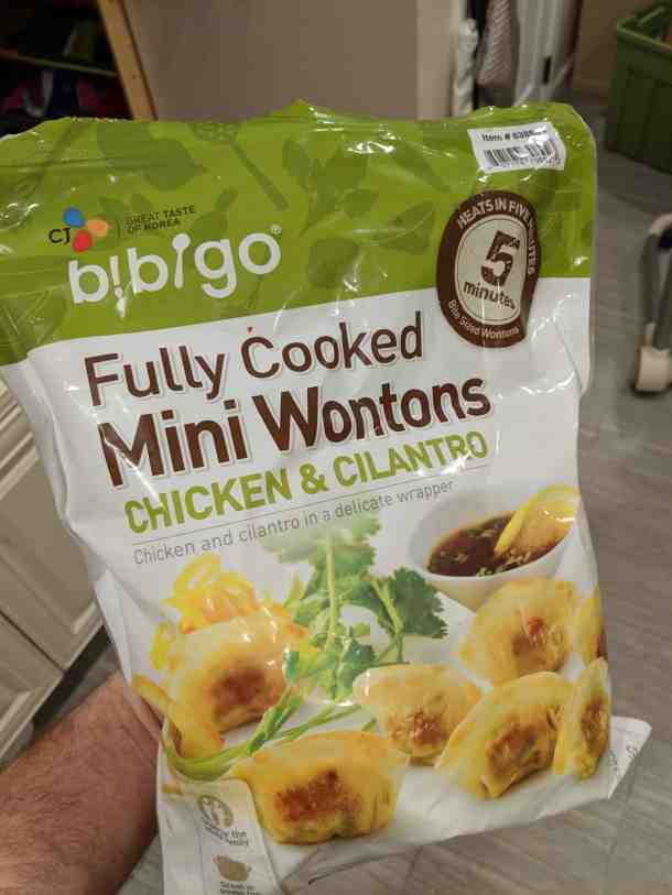 Fully-cooked mini wontons
