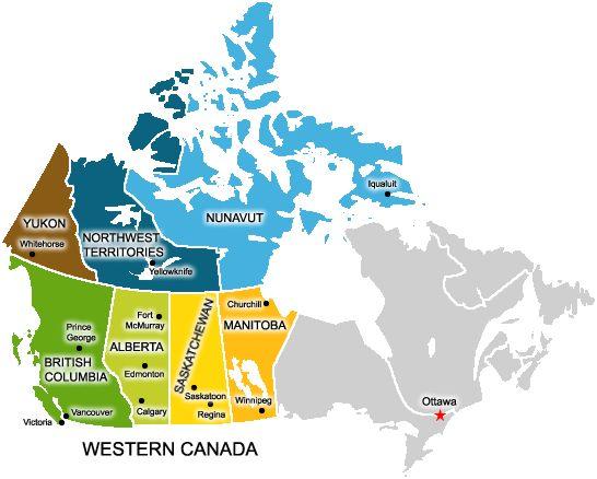 Resultado de imagen para Canada western map
