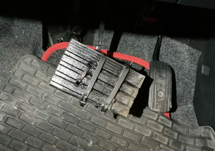 This car owner thought nothing of covering his foot pedals with an offcut of decking fastened neatly with tie wraps. When he was asked if the original brake pedal was damaged, the customer replied 'No my foot keeps missing the pedal'. 🤦 Here's a list of the most common reasons why cars fail their MOT: https://www.gov.uk/government/uploads/system/uploads/attachment_data/file/813904/dvsa-mot-03-mot-class-3-and-4-vehicles-initial-failures-by-defect-category.csv/preview