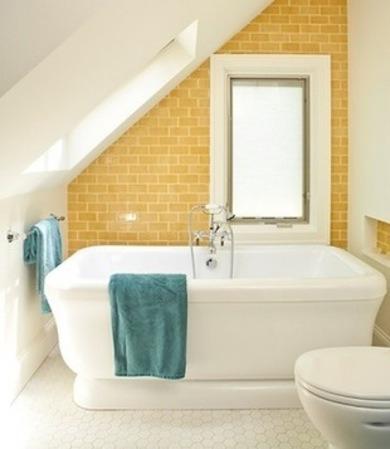 Yellow Subway Tile Bathroom