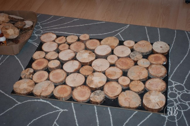 wood slice fireplace facade