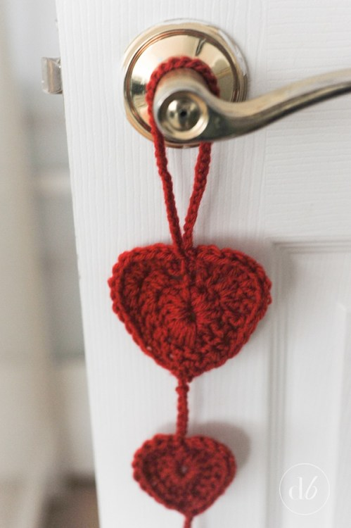 crocheted heart door hanger