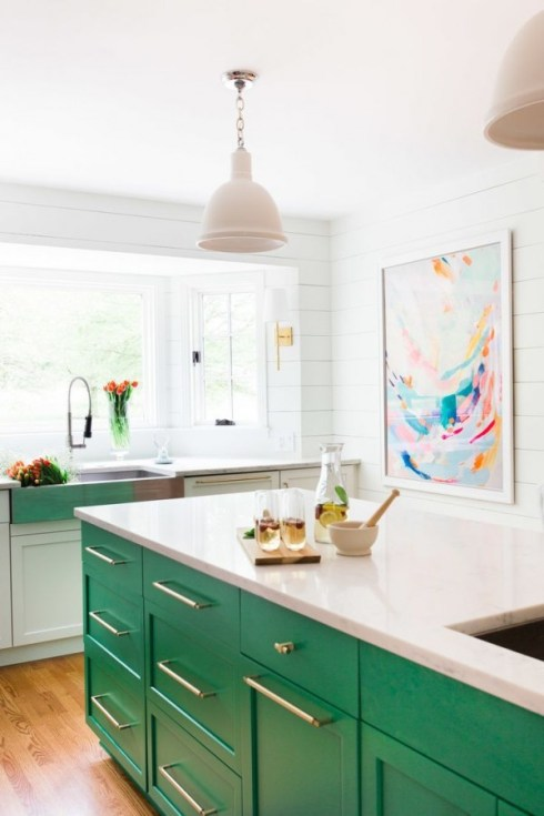 stunning white kitchen cabinets green walls colors | Current Trend: Pop of Color in the Kitchen - Dwell Beautiful
