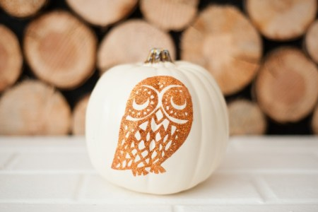 glitter owl pumpkin