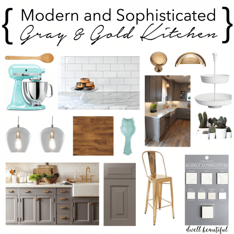gray and gold kitchen mood board