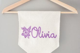 floral name banner baby shower gift