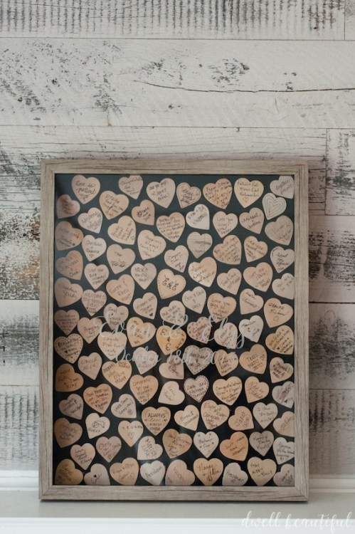 wooden heart wedding guestbook idea