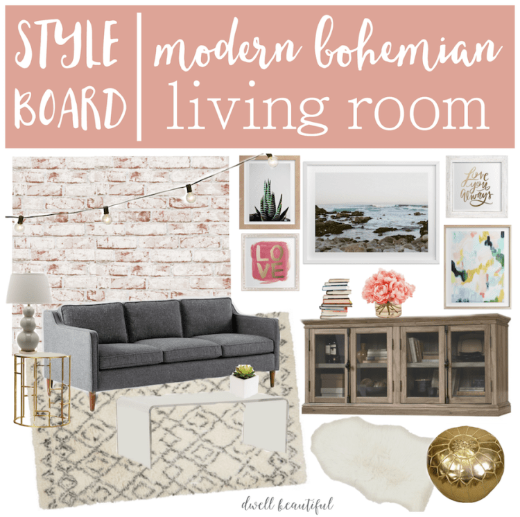 modern bohemian living room mood board