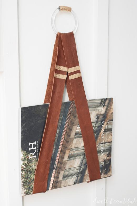 diy modern leather book holder