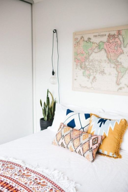 modern bohemian bedroom - map art