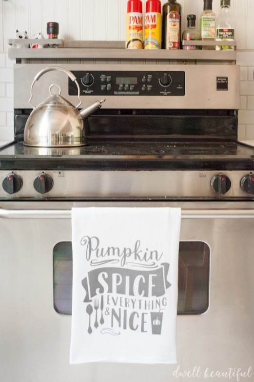 fall pumpkin spice tea towel