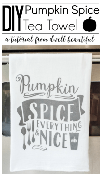 fall pumpkin spice latte tea towel