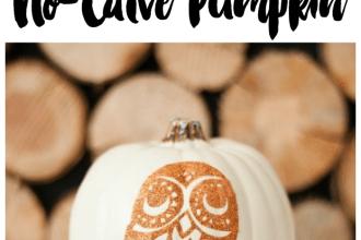 diy glitter owl no carve pumpkin