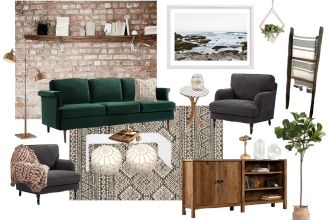 Cozy Boho Living Room Style Board