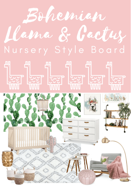 Boho Llama and Cactus Nursery Style Board