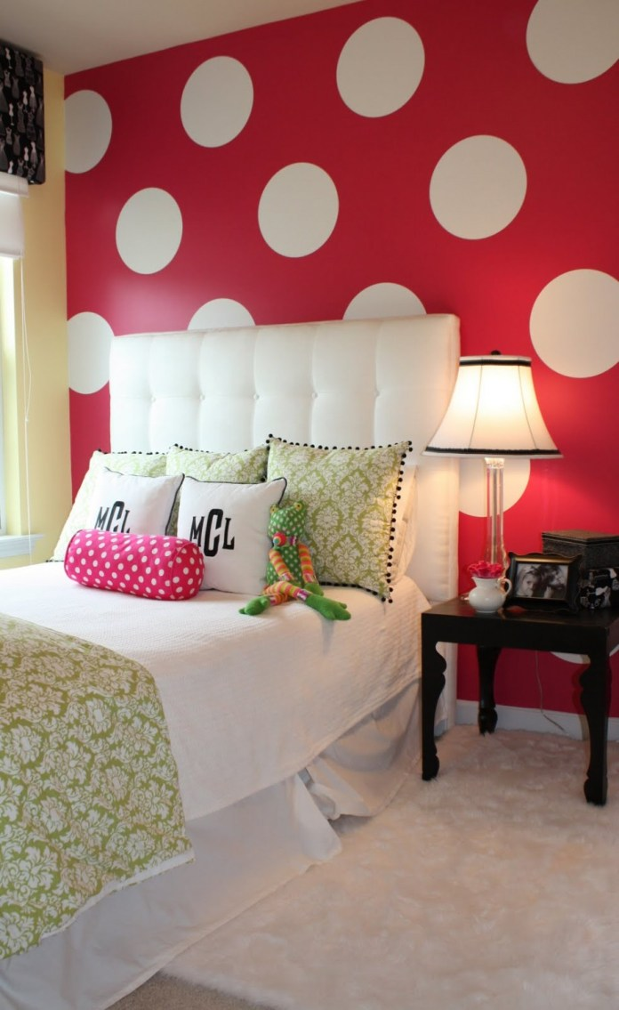 others-magnificent-white-polcadots-on-red-wall-decoration