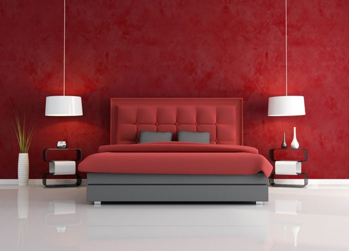 Alluring Red Wall Colors Design For Modern Bedroom