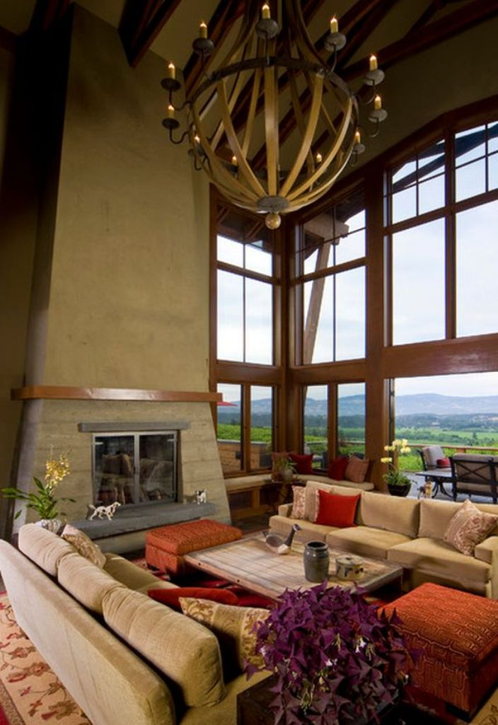 Craftsmen Inspired Living Room with High Ceiling