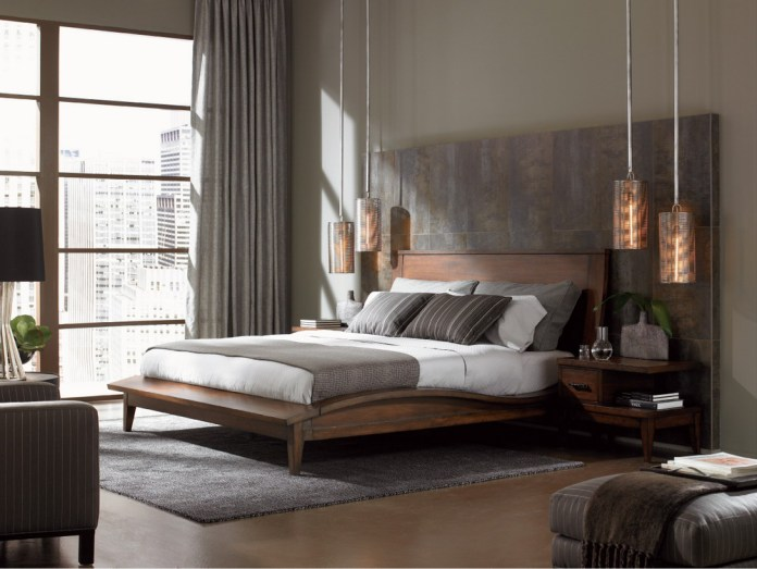 Grey Based Bedroom Design With Wooden Furniture And City View