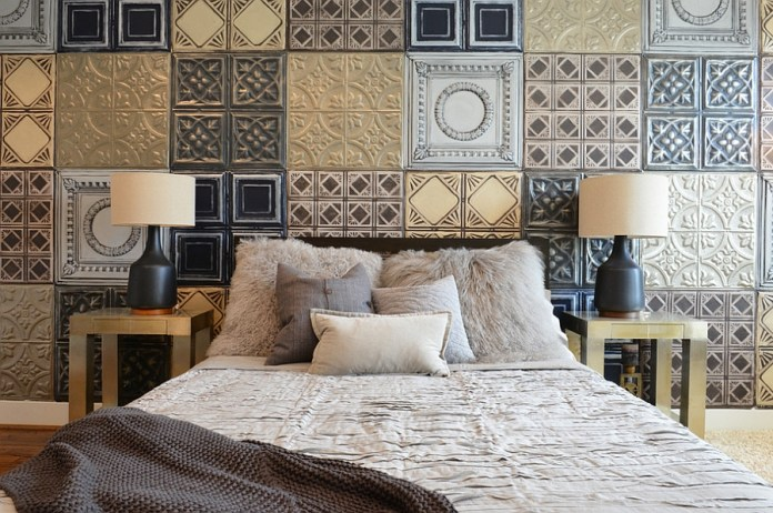 Metallic-tiles-create-the-perfect-accent-wall-for-the-industrial-bedroom