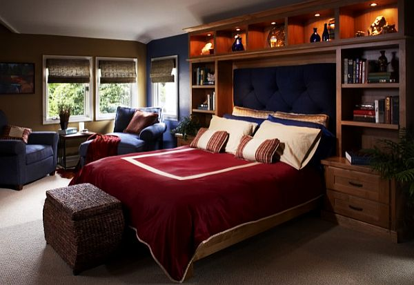 Wonderful Dark Brown Interior of Cool Bedroom Ideas for Guys Design with Sitting Area Wooden Headboard Ratttan Footboard Design