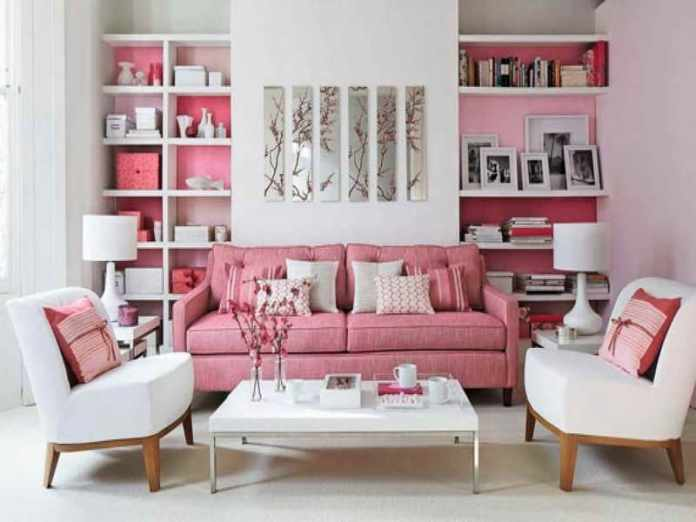 Pink-Color-Chic-Living-Room-Design-Ideas