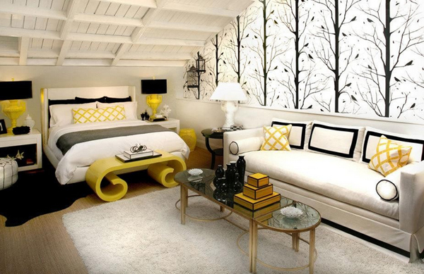 tree-wallpaper-in-fabulous-black-and-yellow-bedroom-idea-feat-unusual-bench-plus-oval-glass-coffee-table-design
