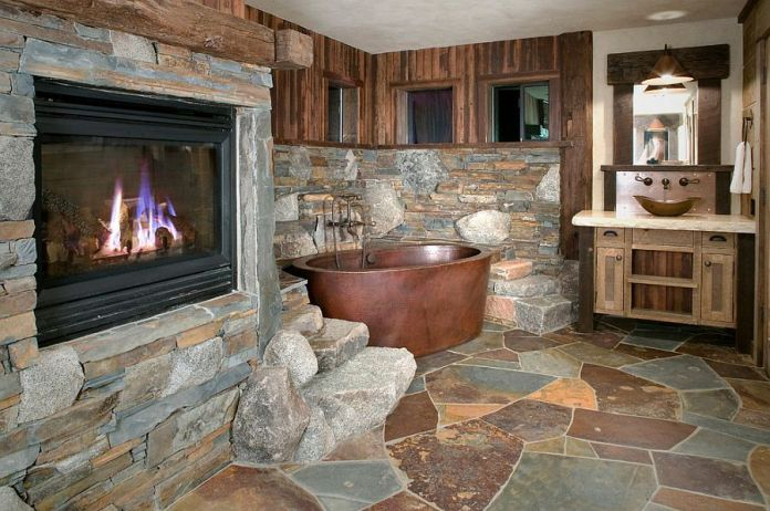 Copper Bathtub and Flagstone Slate Rustic Bathroom