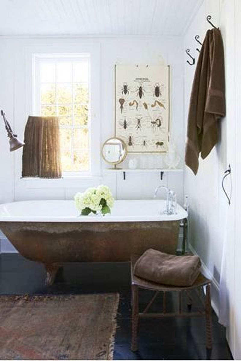 Eclectic Bathroom with copper bathtub