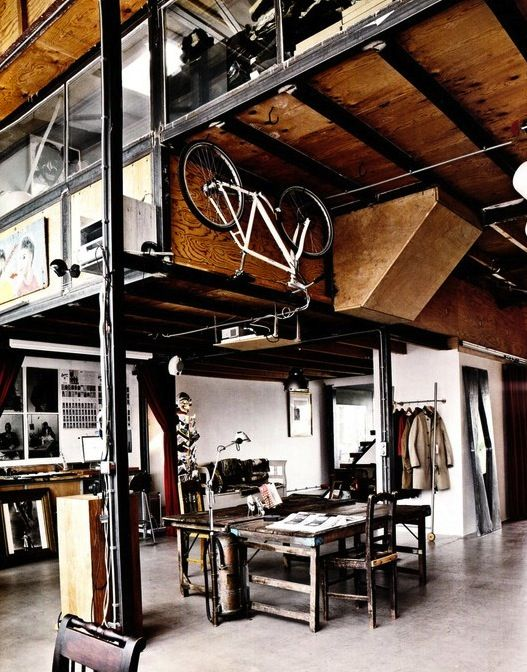 Industrail house with ceiling bike storage