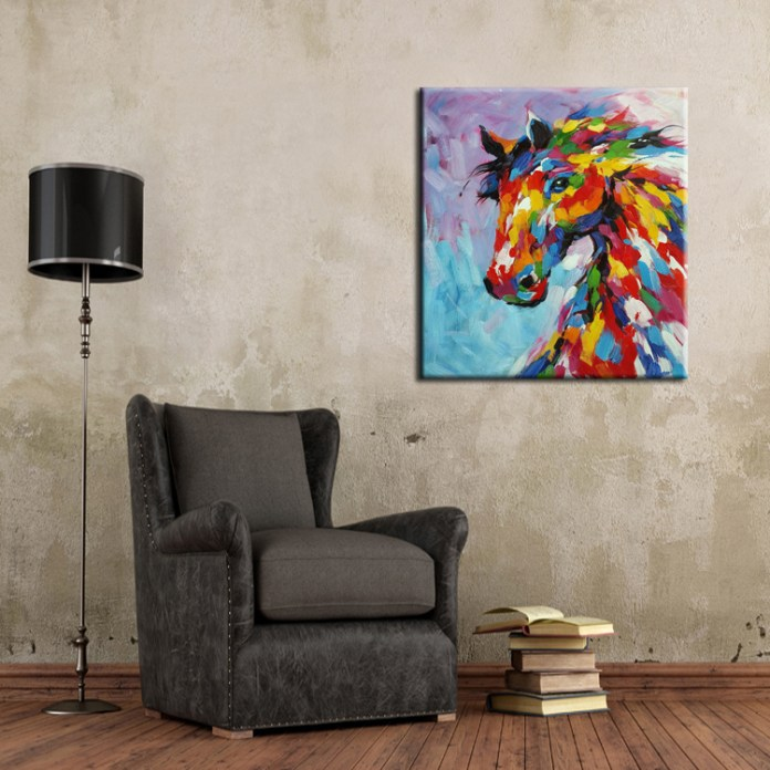 Knife-Oil-Painting-Horse-On-Canvas-Abstract-Living-Room-Wall-Art-Decor-Handmade-Abstract-Knife-Painting