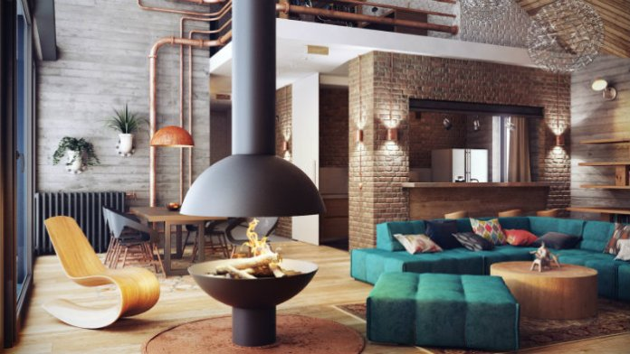 Modern Living Design with Suspended Fireplace