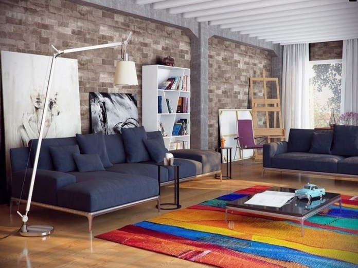Modern Living Room Design with Colorful Accents