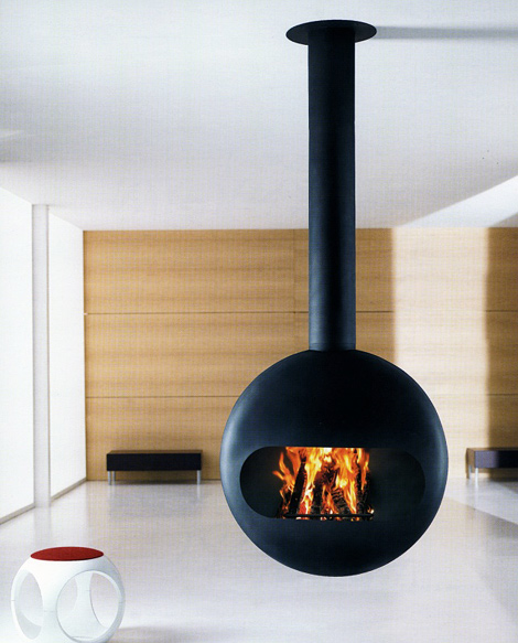 Modern Living Room Suspended Fireplace