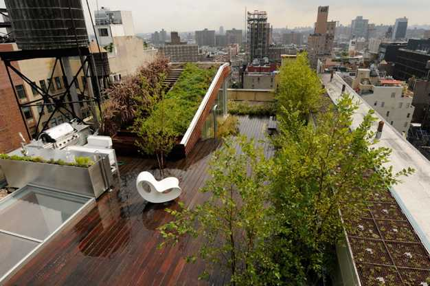 Sloped green roof and rooftop garden design