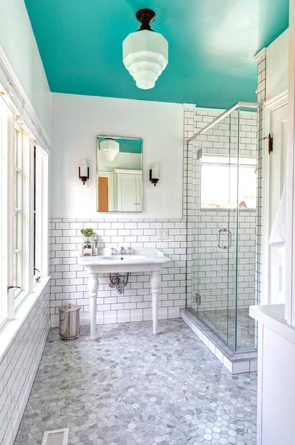 Transitional Art Deco Bathroom