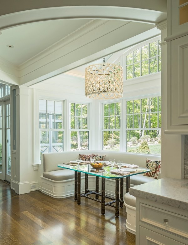 breakfast nook idea glass table white kitchen benches