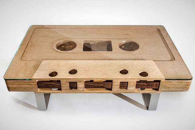 Audio Cassette Shape Wooden Coffee Table
