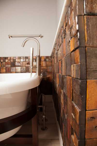 Bathroom Wall with Reclaimed Wood Tiles