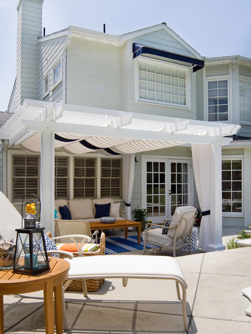 Beach Style Outdoor Design Photos with Stamped Concrete