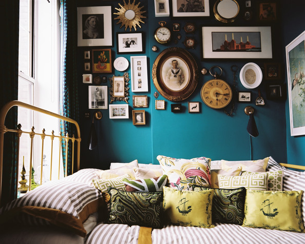 Eclectic Bedroom with wall decor