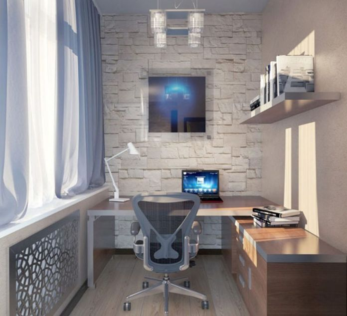 Fetching-Swivel-Chair-with-Wooden-Desk-under-Modern-Floating-Light-at-Home-Office-Ideas