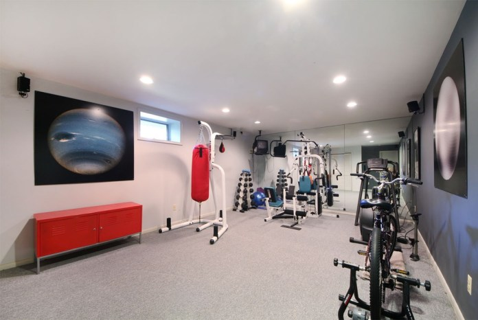 Modern Red Home Gym Design