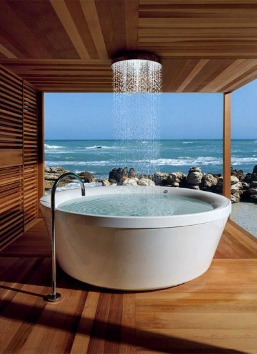 Outdoor Tub Shower with View