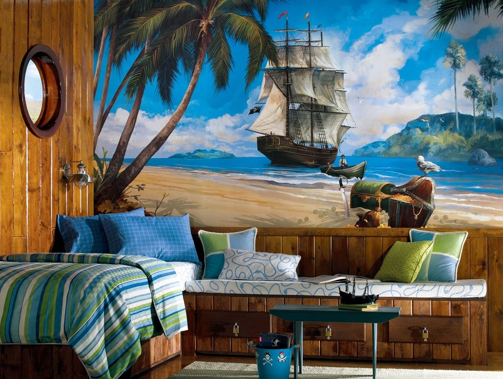 Pirates Wall Painting Wooden Framed Bed