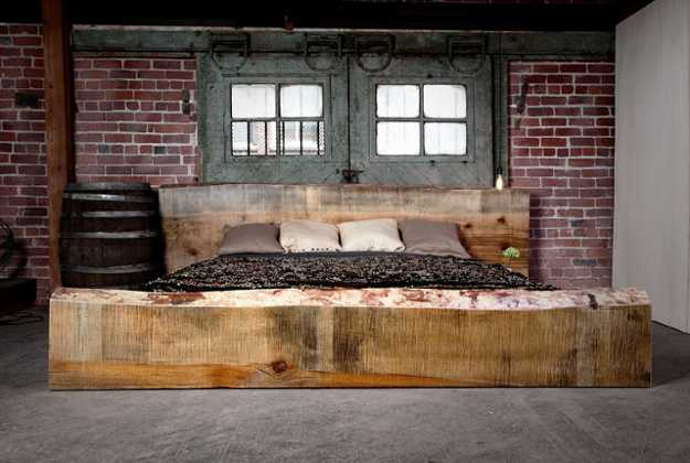 Unique Bed Design with Reclaimed Wood