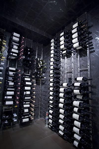 dark modern wine cellar